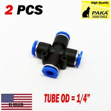 """2x 1/4"""" (6 mm Pneumatic Equal Cross Union Push In Fitting Quick Connect Air Tube"""