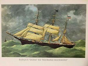 "Vintage Lithograph Print Barque ""DORA"" Ex ""Richard Rickmers""  Sailing Nautical"