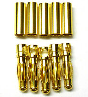 C0406x5 RC Connector 4mm 4.0mm Gold Plated Male and Female Bullet Banana x 5 Set