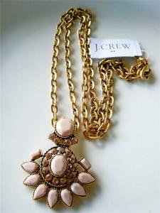 """J CREW FACTORY CRYSTAL ROYAL BALL PENDANT NECKLACE NWT TAN GOLD 17""""+3"""" + POUCH"""