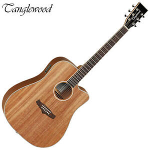 Tanglewood Union Dreadnought Acoustic Electric Guitar Solid Mahogany Top TWUDCE