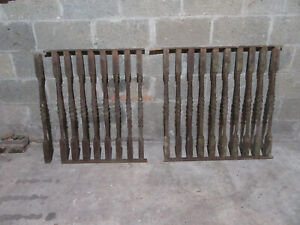 ~ 50 ANTIQUE CAST IRON BALUSTERS WITH RAILINGS 33.5 TALL ~ ARCHITECTURAL SALVAGE
