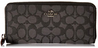 Coach F54633 Accordion Zip Wallet Signature Jacquard - SV/Black Smoke/Black