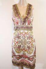 Nicole Miller Scarf Print Silk Sundress SZ 4 Brown White Red Paisley Ethnic Boho