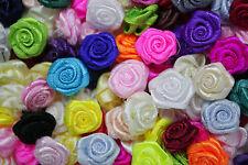 100! Lovely Satin Ribbon Roses - 15mm - Colour Mix Rose Applique Embellishments!