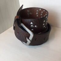 UNBRANDED Women's Brown Leather Silver Studded Western Boho Belt Square Buckle