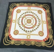VERSACE Polyester Scarf Black White Gold & Red With Logo Design Easy Care GUC