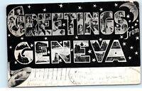 *B63 1906 Greetings from Geneva Large Letter Black White Vintage Postcard