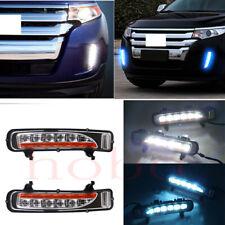 2x For Ford Edge 11-12 Front Bumper White+Ice-Blue Fog Light Driving Lamp Frames