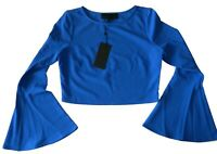 Kendall & Kylie Women's Bell Sleeve Crop Top Surf The Web Blue Size Small New