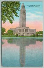 Baton Rouge Louisiana~State Capitol On University Lake~Vintage Postcard