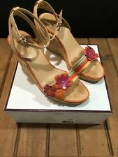 COACH Gorgeous Strappy Cork Ankle Strap Floral Accent Wedge Heels Sandals Size 8