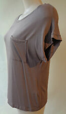 NEW Brown Sugar stretch short sleeve taupe top size 8 NWT bamboo