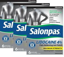 SALONPAS Lidocaine 3 PACK Pain Relief Gel Patch MAXIMUM STRENGTH Numbing Relief