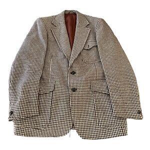 Vintage Stafford Ellinson wool Houndstooth Blazer Sports Coat Jacket 110 Cm