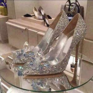 Cinderella Style Crystal Silver Sparkle Wedding ankle strap Shoes Size Uk New.