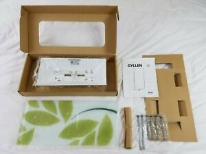 NEW IKEA Gyllen Glass Wall Sconce Light Lamp Green Leaf Leaves Frosted White