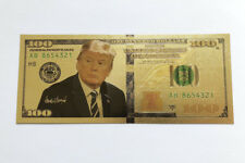 2 US President Donald Trump Gold Plated Dollars Bill Bookmark Novelty Banknote