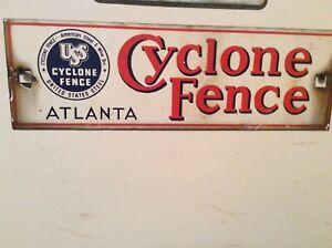 Cyclone Fence Atlanta Porcelain Sign Vintage