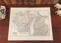 Original 1892 Antique Map MICHIGAN Sterling Heights Detroit Lansing