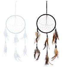 2 Traumfänger Ø 16 cm schwarz und weiß mit Federn und Holzperlen