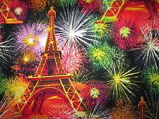 PARIS EIFFEL TOWER FIRE WORKS BURSTS COTTON FABRIC BTHY