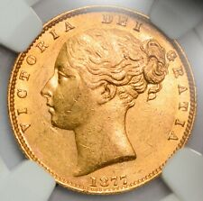 UNC N.G.C. MS-61 1877-S Queen Victoria Gold Shield Sovereign - Sydney Mint