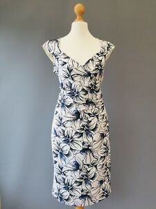 Alexon Dress 10 White Ruched Wrap Neckline Shift Office Career Wedding J18