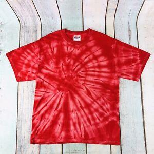 Hanes Heavyweight T Shirt Cotton Tie Dye Red Music Festival M Medium