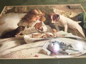 UK Artist Charles B. Barber SUSPENSE Print Girl Terrier Kitten Wood Frame Glass