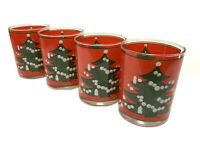 Set 4 Vintage WAECHTERSBACH Red Christmas Tree Double Old Fashion 12oz Glasses