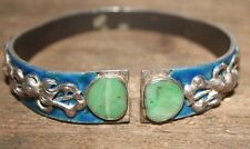 Antique Chinese Silver Signed Jade Blue Enamel Cuff Bracelet Rare Mens 49g 1880S