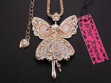 Betsey Johnson Cute Shiny crystal elf angel pendant Necklace # A119M