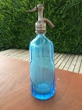 Ancienne bouteille syphon bleue,tube plongeur en verre, Regnier Montreal