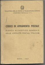 CODICE AVVIAMENTO POSTALE - EDIZIONE UFFICIALE MINISTERO PT DEL 1967