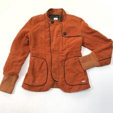 55DSL Jacket Corduroy Women's XS Moto Orange Pockets Ribbed Cuffs Zipper Front