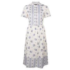 Laura Ashley Floral Print Blue Cream Tie Waist Dress Size UK 14