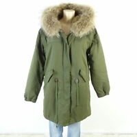 WITTY KNITTERS X DIFFERENT FASHION Parka Mantel Fell Pelz Khaki Gr. XL 42 (BC58)