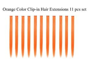 """11pcs Single Color 21"""" Straight Party Clip In Synthetic Hair Extensions Cosplay"""