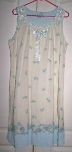 Secret Treasures_XL_Sleepwear Sleeveless Cotton Blend Nightgown Soft BLUE floral
