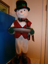 "Animated Musical LED Snowman, Door Greeter Holding Tray, NWT, 38"" Tall"