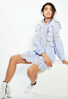 Topshop Stripe Cutwork Lace Frill Smock Dress Blue White UK 8 10 12 EU 36 38 40