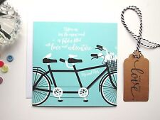 Inspirational Quote Bride and Groom Mr & Mrs  Tandem Bike - Wedding Card (GC23C)