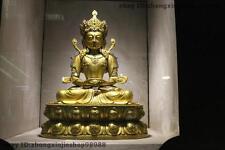 Tibet Buddhism Fane 100% Pure Bronze 24K Gold Amitayus Buddha Kwan-yin Statue