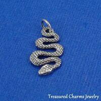 .925 Sterling Silver SNAKE COBRA CHARM Copperhead Rattlesnake PENDANT
