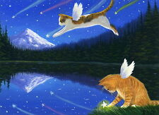 Kittens cat fairy moon lake catch a falling star limited edition aceo print art