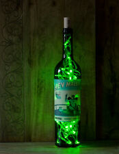 DIY Recycled Upcycled Wine Bottle Hey Malbec LED Lamp Glass Green Lights