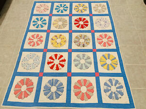 🔥Vintage Dresden Plate Style • Large Hand Stitched Quilt • 73 X 58