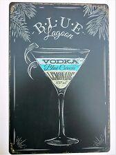 BLUE LAGOON 20 X 30 CM METAL TIN SIGNS vintage cafe pub bar garage decor