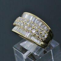 Vintage LeVian 18K Yellow Gold 3.30 TCW Diamond Cocktail Ring Size 6.75
